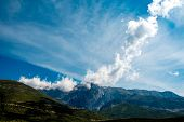 image of albania  - Beautiful rocky mountains with clouds in Albania - JPG