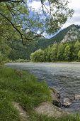 foto of pieniny  - Dunajec River in Pieniny Mountains in distance Trzy korony and Facimiech - JPG