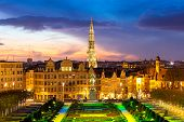 image of art gothic  - Brussels Cityscape from Monts des Arts at dusk - JPG
