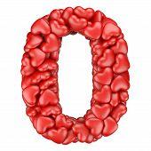 foto of zero  - Number zero from hearts - JPG
