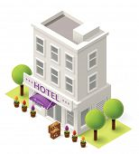 picture of isometric  - Vector isometric hotel building icon - JPG
