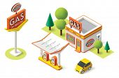 foto of gasoline station  - Vector isometric gas filling station building icon - JPG