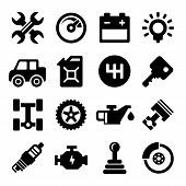 stock photo of mph  - Auto Repair Service Black Icons Set - JPG
