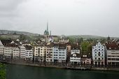 stock photo of zurich  - View of the embankment of the river in Zurich Switzerland - JPG
