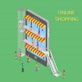stock photo of shopping center  - Online Shopping Isometric Concept Vector Illustration - JPG