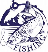 picture of trout fishing  - Vintage trout fishing emblems - JPG