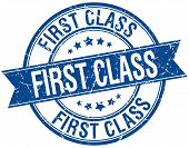 picture of first class  - first class grunge retro blue isolated ribbon stamp - JPG