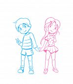 image of japan girl  - Cute boy and girl in love in anime style - JPG