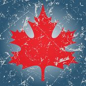 foto of canada maple leaf  - stylized red maple leaf on the ice - JPG