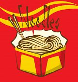 picture of chinese menu  - vector chinese noodles with calligraphic inscription - JPG