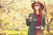foto of cloak  - Portrait of a beautiful redhead women in cloak and hat with camera in blossom apple tree garden in spring time on sunset - JPG