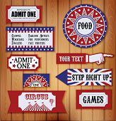 picture of strongman  - Carnival Signs and Ticket on tree background - JPG
