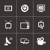 foto of tv sets  - Vector tv icon set on black background - JPG