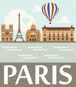 stock photo of moulin rouge  - Paris illustration with landmarks and airbaloon - JPG