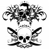 picture of saber  - decorative art background with human skulls and sabers - JPG