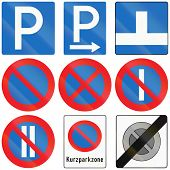 picture of traffic rules  - Collection of Austrian traffic signs about parking permission and restriction - JPG