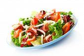 foto of smoked ham  - Smoked ham and vegetables on white background - JPG