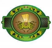 picture of hop-plant  - oval banner or label with grain stock and hop - JPG