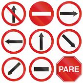 picture of traffic sign  - Collection of Argentinian traffic signs including arrow signs showing the driving direction and no entry and stop sign - JPG