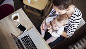 stock photo of lap  - Young mother in home office with computer and her daugher - JPG