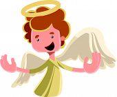 foto of spread wings  - Beautiful angel spreading wings vector illustration cartoon character - JPG