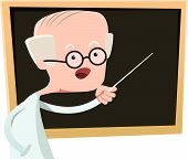 pic of physicist  - Old man teaching at class vector illustration cartoon character - JPG