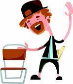 image of hillbilly  - Happy man grabing chair vector illustration cartoon character - JPG