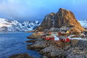 foto of reining  - Reine is a beautiful fishing village in Lofoten Islands - JPG