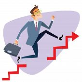 picture of competition  - Businessman running up through gaps in the schedule of sales The topics of business through images of sport and athletes in the competition - JPG