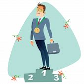 image of competition  - Businessman in first place of the podium The topics of business through images of sport and athletes in the competition - JPG