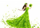stock photo of white gown  - Woman Green Leaves Dress Fantasy Creative Beauty Floral Gown Spring and Summer Fashion Season Concept over White Background - JPG