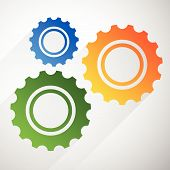 image of rework  - Gears cogwheels icon graphics for maintenance repair manufacturing and development concepts - JPG