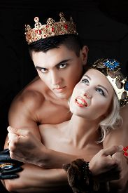 image of princess crown  - guy with the crown prince princess hugs - JPG