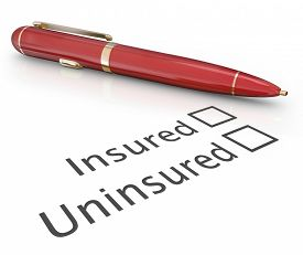 stock photo of check  - Insured or uninsured question and pen to check box to answer if you are covered by an insurance policy for medical - JPG