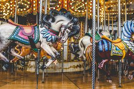 image of carousel horse  - Old French carousel in a holiday park - JPG