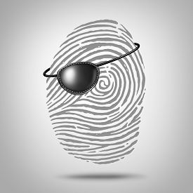 foto of pirates  - Privacy piracy concept and identity theft symbol as a finger print or fingerprint icon with a pirate eye patch as a private data security metaphor for online personal information risk - JPG