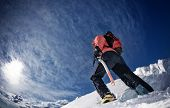 picture of mountain-climber  - Climber on a snowy ridge west Alps Europe - JPG