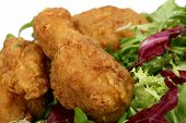 picture of fried chicken  - deep fried spring chicken in golden lemon batter with salad - JPG