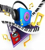 picture of musical instruments  - Colorful musical world stage with speaker piano 3d illustration - JPG
