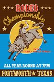 foto of bull-riding  - retro style illustration of a Poster showing an American Rodeo Cowboy riding a bull bucking jumping with sun in background and words  - JPG