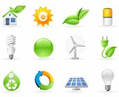 stock photo of solar battery  - Ecology and Alternative Energy icon set on the white - JPG