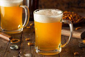 image of stein  - Golden Beer in a Glass Stein for Oktoberfest - JPG