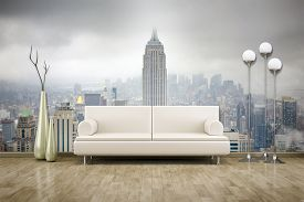 picture of mural  - 3D rendering of a sofa in front of a photo wall mural  - JPG