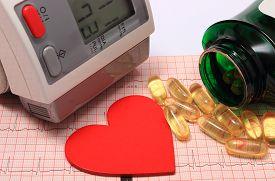 pic of ekg  - Instrument for measuring blood pressure red heart shape and tablets on electrocardiogram graph ekg heart rhythm medicine concept - JPG