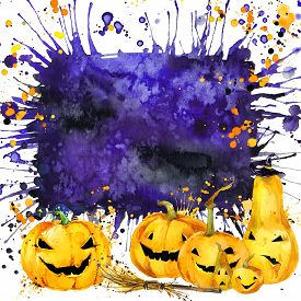 stock photo of halloween  - Halloween border for design with Halloween pumpkin - JPG