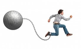 pic of ball chain  - man with ball and chain on white - JPG