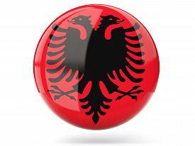 stock photo of albania  - Glossy round icon with flag of albania - JPG