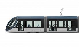picture of tram  - Modern Tram isolated on white background - JPG