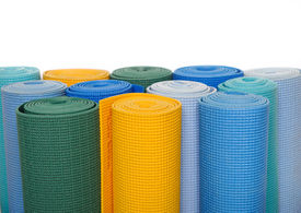 image of yoga mat  - many colorfull yoga mats as a background - JPG