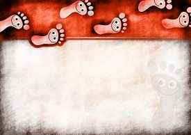 foto of scrappy  - A digitally painted scrappy note paper background design with happy cartoon foot prints - JPG